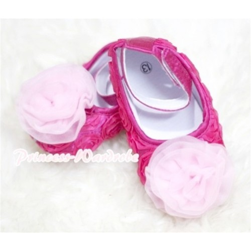 Baby Hot Pink Crib Shoes with Light Pink  Rosettes S125