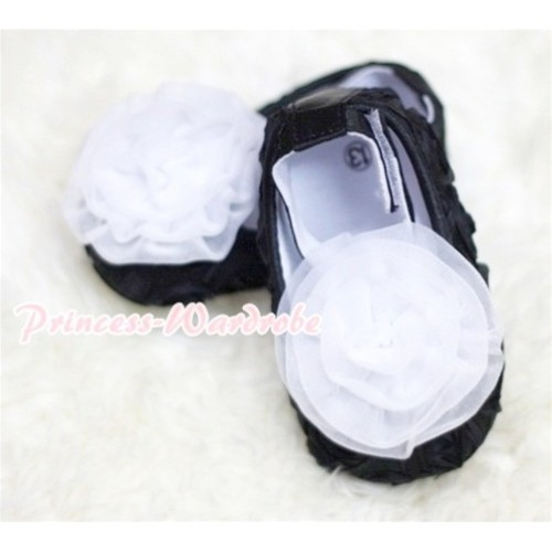 Baby Black Crib Shoes with White Rosettes S127