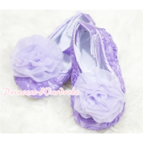 Baby Lavender Crib Shoes with  Lavender Rosettes S128