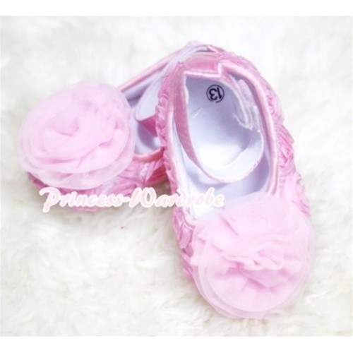 Baby Light Pink Crib Shoes with Light  Pink Rosettes S130