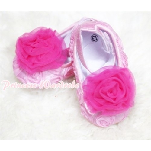 Baby Light Pink Crib Shoes with Hot Pink Rosettes S132