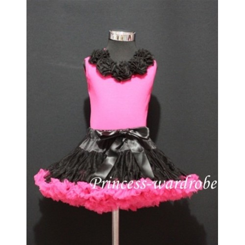 Black Hot Pink Pettiskirt with matching Hot pink Tank Tops with Black Rosettes MH06