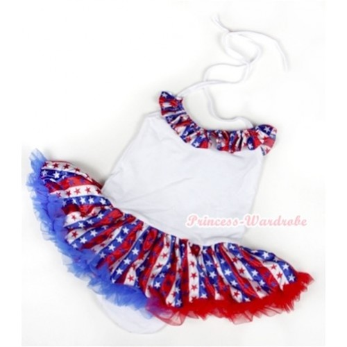 White Baby Halter Jumpsuit Red White Royal Blue Striped Stars Pettiskirt With Red White Royal Blue Striped Stars Satin Lacing JS1027