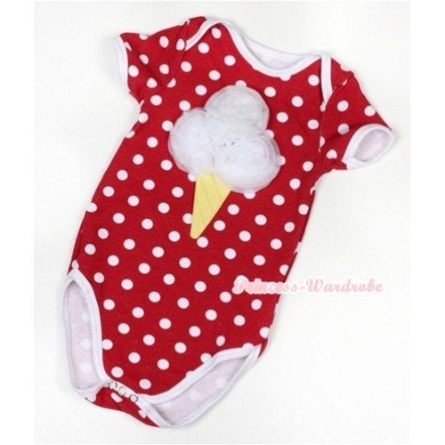 Minnie Polka Dots Baby Jumpsuit with White Rosettes Ice Cream Print TH344