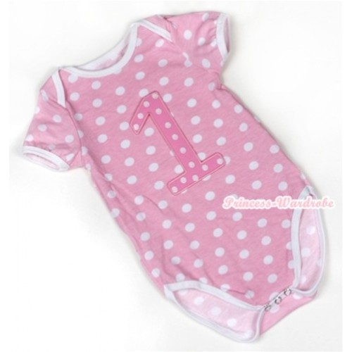 Light Pink White Polka Dots Baby Jumpsuit with 1st Light Pink White Dots Birthday Number Print TH348
