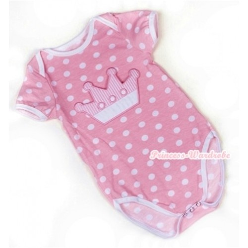 Light Pink White Polka Dots Baby Jumpsuit with Crown Print TH349