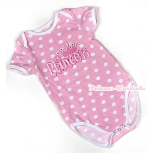 Light Pink White Polka Dots Baby Jumpsuit with Princess Print TH350