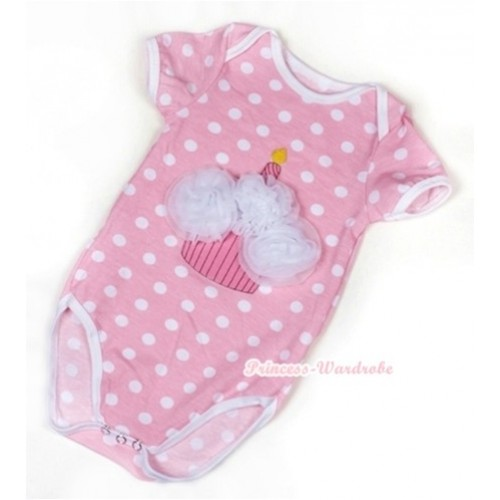 Light Pink White Polka Dots Baby Jumpsuit with White Rosettes Birthday Cake Print TH352