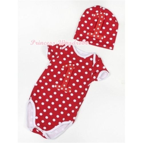 Minnie Polka Dots Baby Jumpsuit with 1st Red White Polka Dots Birthday Number Print with Cap Set JP37