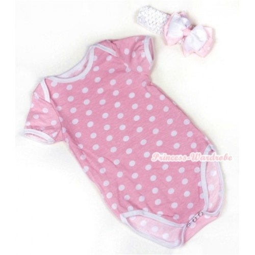 Light Pink White Polka Dots Baby Jumpsuit with White Headband White & Light Pink White Dots Ribbon Bow TH361