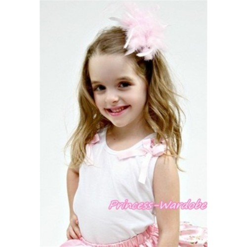 White Tank Top with Floral Ruffles and Light Pink Bow T351