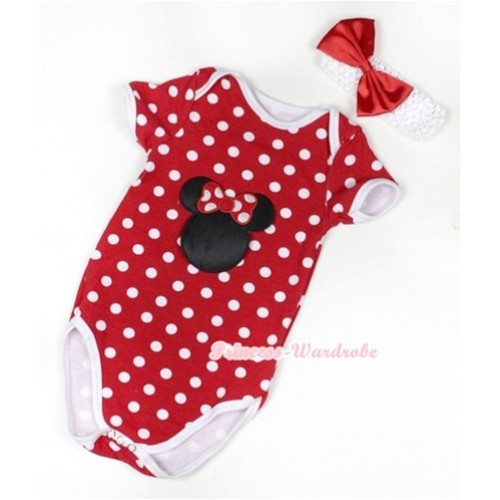 Minnie Polka Dots Baby Jumpsuit with Minnie Print With White Headband Red Satin Bow TH368