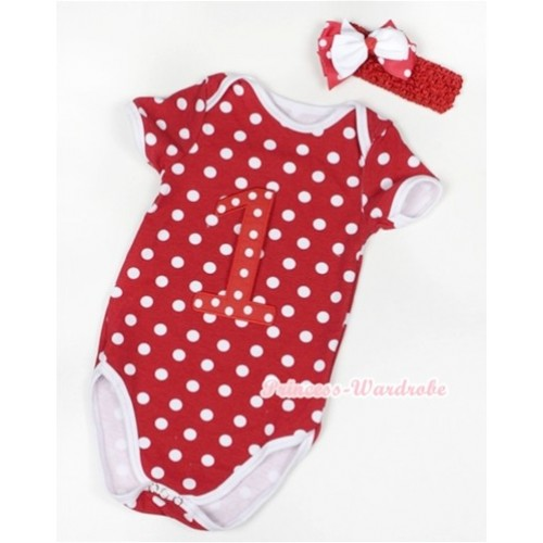 Minnie Polka Dots Baby Jumpsuit with 1st Red White Dots Birthday Number Print With Red Headband White & Minnie Dots Ribbon Bow TH371