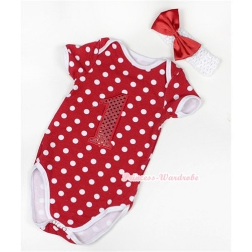 Minnie Polka Dots Baby Jumpsuit with 1st Sparkle Red Birthday Number Print With White Headband Red Satin Bow TH372