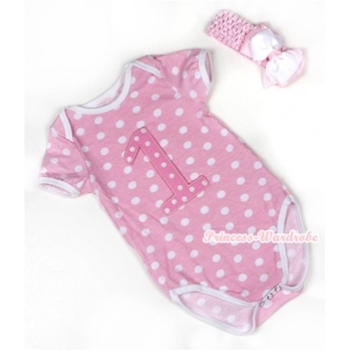 Light Pink White Polka Dots Baby Jumpsuit with 1st Light Pink White Dots Birthday Number Print With Light Pink Headband White & Light Pink White Dots Ribbon Bow TH375