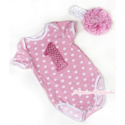 Light Pink White Polka Dots Baby Jumpsuit with 1st Sparkle Light Pink Birthday Number Print With White Headband Light Pink Peony TH377