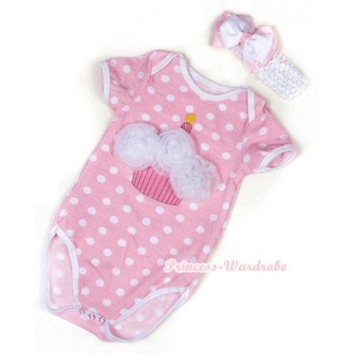 Light Pink White Polka Dots Baby Jumpsuit with White Rosettes Birthday Cake Print With White Headband White & Light Pink White Dots Ribbon Bow TH380