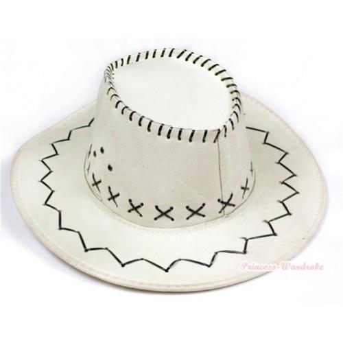 Ivory Cream White Leather Western Cowboy Wide Brim Hat H702