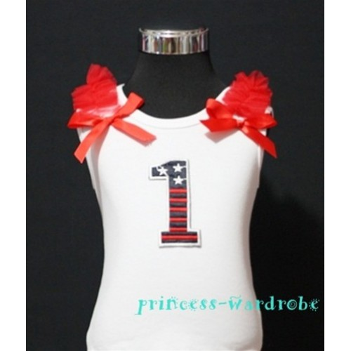 1st Patriotic Print Birthday number White Tank Top with Red Ribbon and ruffles TW02