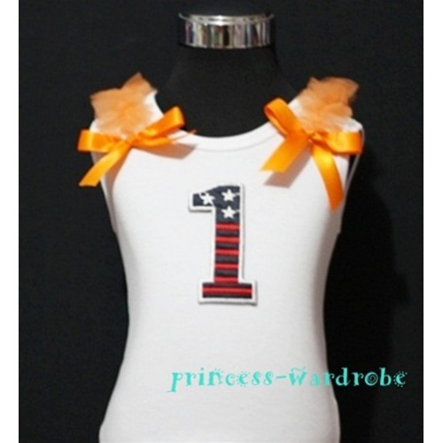 1st Patriotic Print Birthday number White Tank Top with Orange Ribbon and Ruffles TW03