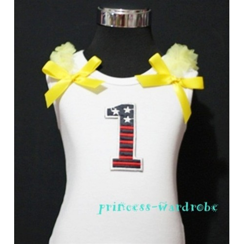 1st Patriotic Print Birthday number White Tank Top with Yellow Ribbon and Ruffles TW04