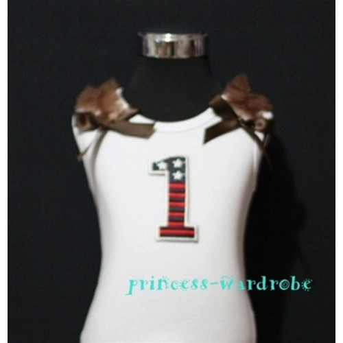 1st Patriotic Print Birthday number White Tank Top with Brown Ribbon and Ruffles TW14