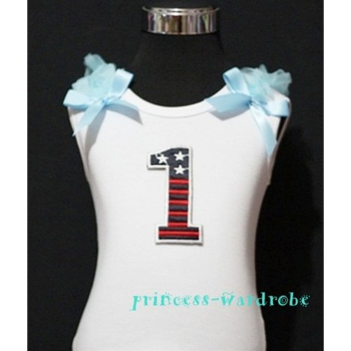 1st Patriotic Print Birthday number White Tank Top with Light Blue Ribbon and Ruffles TW06