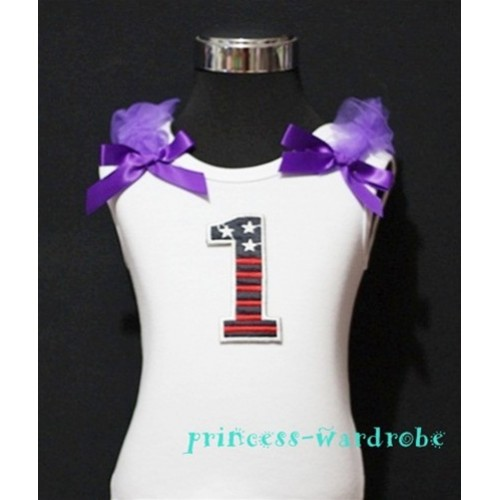 1st Patriotic Print Birthday number White Tank Top with Dark Purple Ribbon and Ruffles TW09