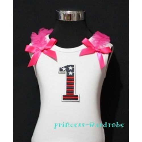 1st Patriotic Print Birthday number White Tank Top with Hot Pink Ribbon and Ruffles TW10
