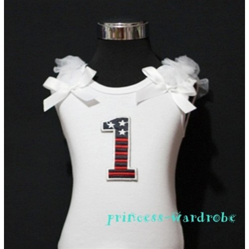 1st Patriotic Print Birthday number White Tank Top with White Ribbon and Ruffles TW13