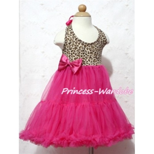 Leopard Print with Hot Pink ONE-PIECE Petti Dress with Bow LP04