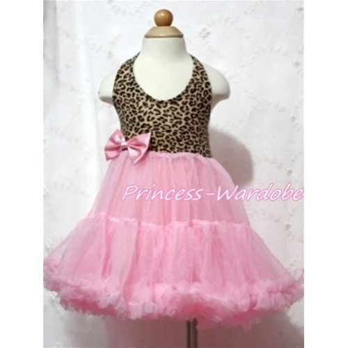 Leopard Print with Light Pink ONE-PIECE Petti Dress with Bow LP05