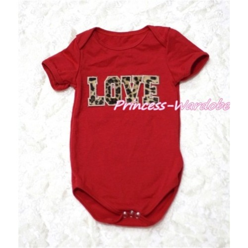 Hot Red Baby Jumpsuit with Leopard Love Print TH112