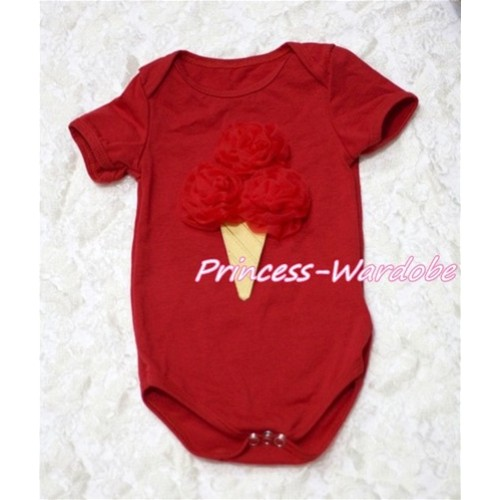 Hot Red Baby Jumpsuit with Red Rosettes Ice Cream Print TH114