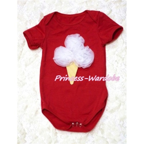 Hot Red Baby Jumpsuit with White Rosettes Ice Cream Print TH115