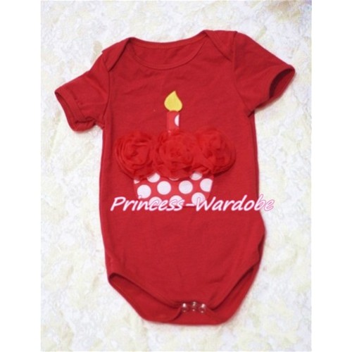 Hot Red Baby Jumpsuit with Red Rosettes Minnie Dots Birthday Cake TH116