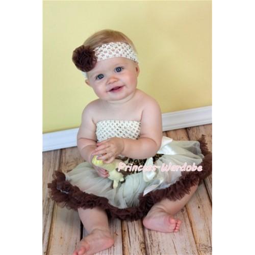 Cream Crochet Tube Top with Cream Leopard Waist Baby Pettiskirt CT101