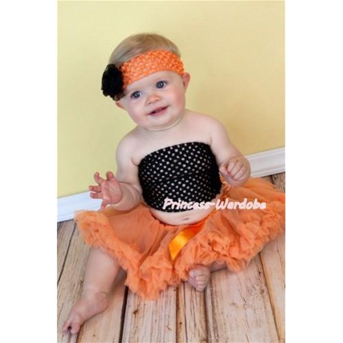 Black Crochet Tube Top with Orange Baby Pettiskirt CT102