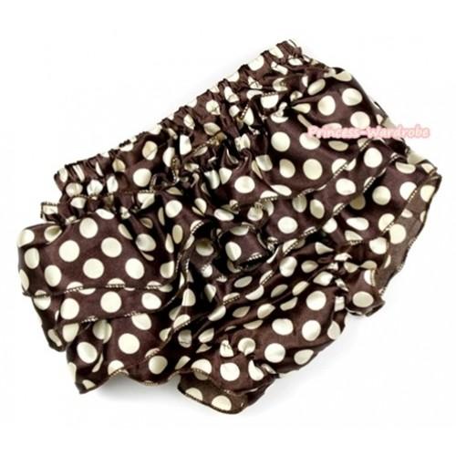 Brown Golden Polka Dots Satin Layer Panties Bloomers BC145