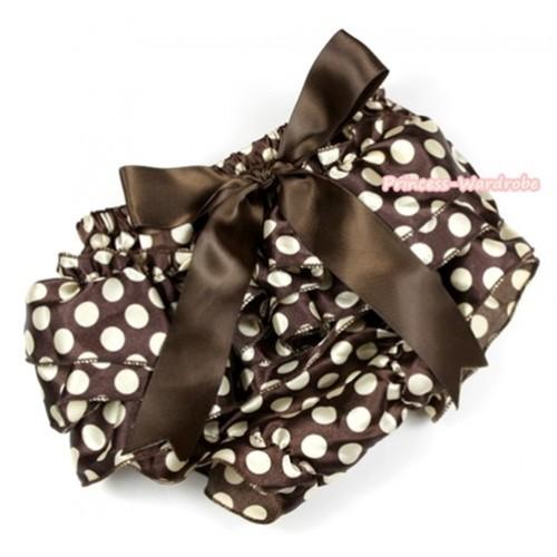 Brown Golden Polka Dots Satin Layer Panties Bloomers With Brown Big Bow BC146