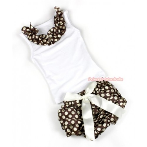 White Baby Pettitop With Brown Golden Polka Dots Satin Lacing With Cream White Big Bow Brown Golden Polka Dots Satin Bloomers LD222