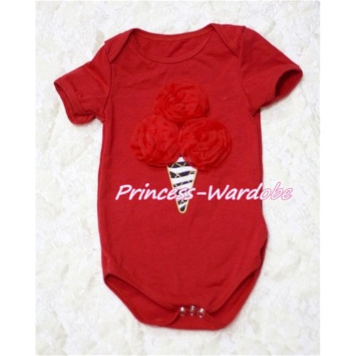 Hot Red Baby Jumpsuit with Red Rosettes Zebra Ice Cream Print TH118