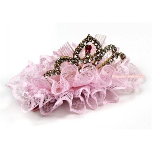 Light Pink Lace Ruffles Rinestone Crown Hair Clip H704