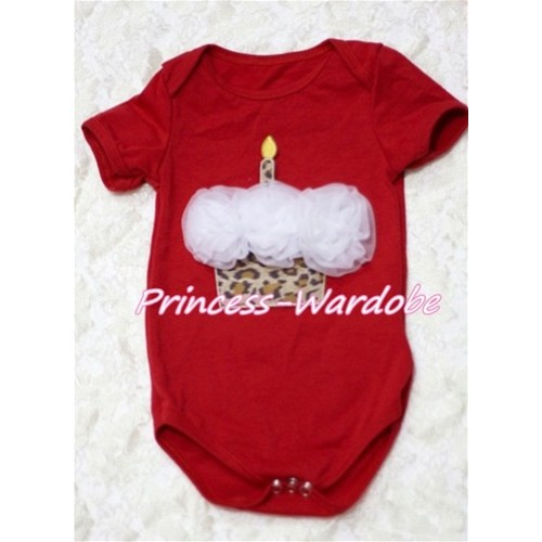 Hot Red Baby Jumpsuit with White Rosettes Leopard Birthday Cake Print TH121