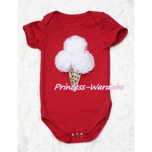 Hot Red Baby Jumpsuit with White Rosettes Leopard Ice Cream Print TH123