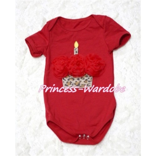 Hot Red Baby Jumpsuit with Red Rosettes Leopard Birthday Cake Print TH120