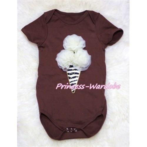 Brown Baby Jumpsuit with Cream White Zebra Ice Cream TH133