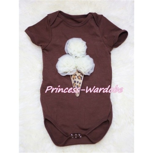 Brown Baby Jumpsuit with Cream White Leopard Ice Cream TH136