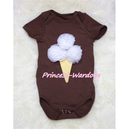 Brown Baby Jumpsuit with White Ice Cream TH137