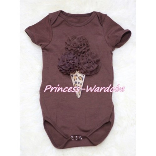 Brown Baby Jumpsuit with Brown Rosettes Leopard Ice Cream Print TH141